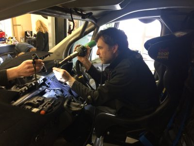 bf1systems Technicians installing TPMS onto Guy Martin's Transit van